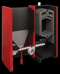 Centrala termica pe combustibil solid si peleti ATTACK FD AUTOMAT 25 F5DA25P sectiune