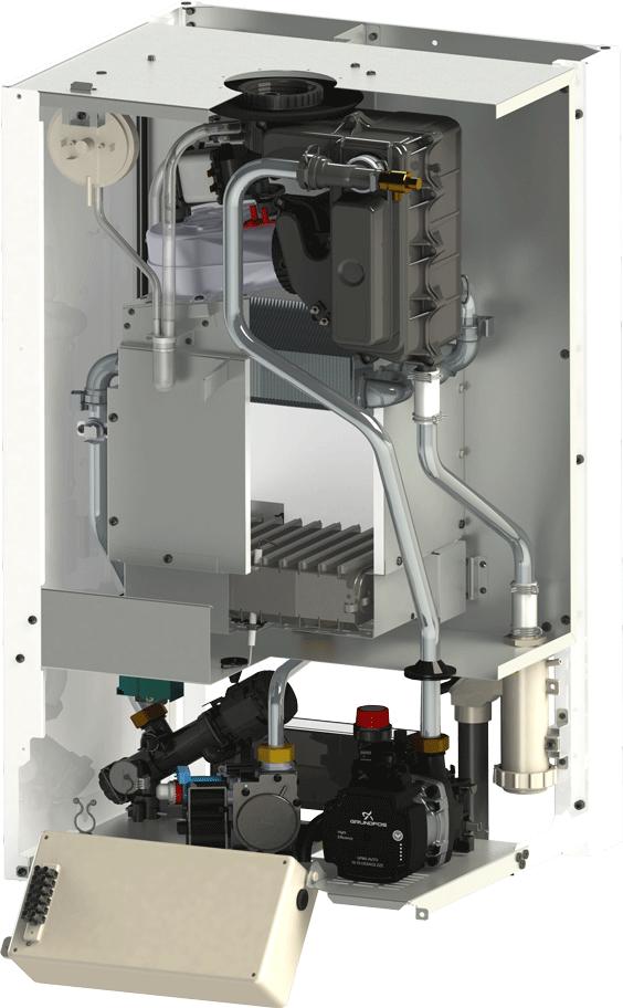 Centrala termica in condensatie Motan Green 28 kW Vedere interioara
