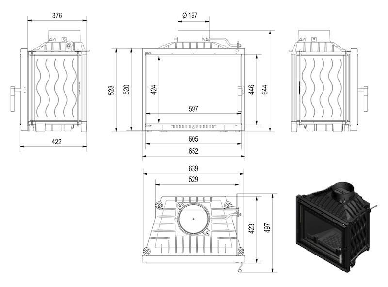 Focar de semineu din fonta E120 Modern 12 kW - dimensiuni de gabarit