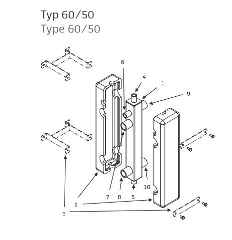 Butelie de egalizare SINUS 60/50 - schema de montaj