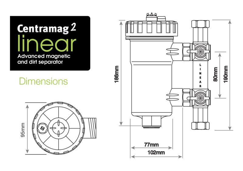 Filtru dual pentru impuritati magnetice si nemagnetice CENTRAMAG 2 INLINE DN 22 mm - desen tehnic