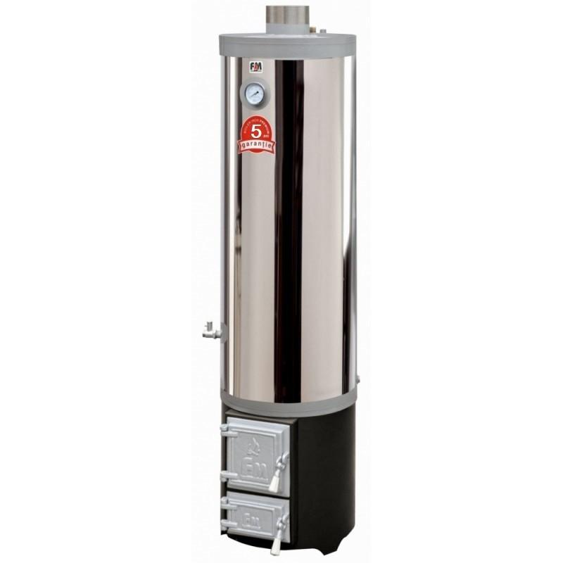 Ansamblu boiler inox 120 L cu focar cu usi din fonta - 5 ani garantie