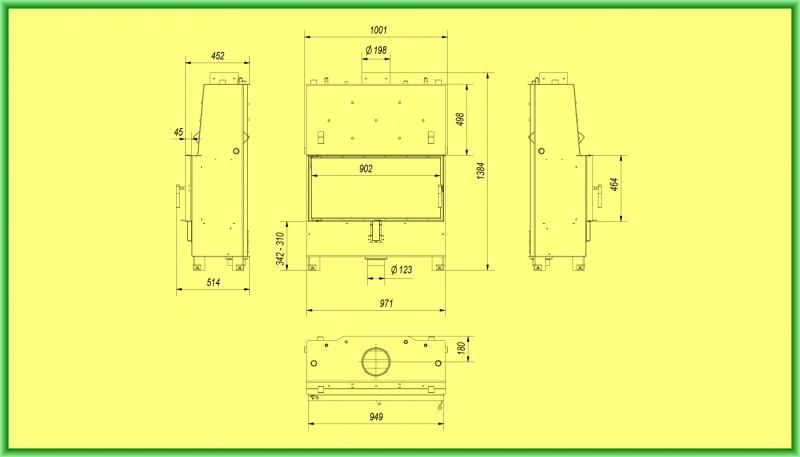 Termosemineu tip insert LUCY PW 20 kW - desen tehnic