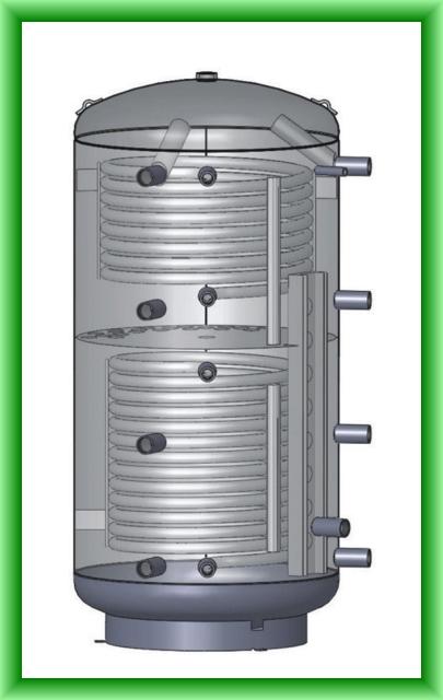 Puffer cu doua serpentine cu stratificare Austria-Email PZRR - desen tehnic