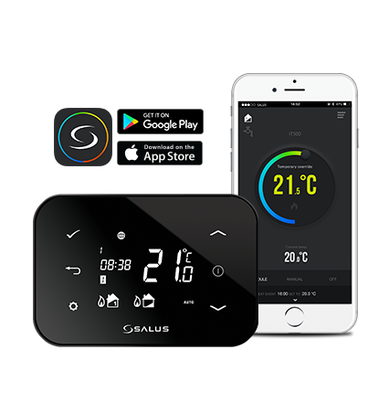 Controler de temperatura conectat la Internet SALUS iT500 cu senzor de temperatura cu radiofrecventa