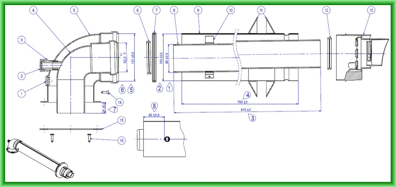Kit de evacuare coaxial pentru centrale termice in condensare Motan - desen tehnic