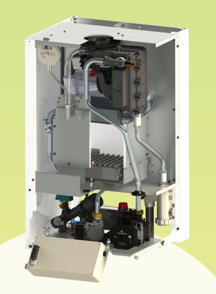 Centrala termica pe gaz in condensatie Motan Green 24 - 24 kW - vedere interioara (sectiune)