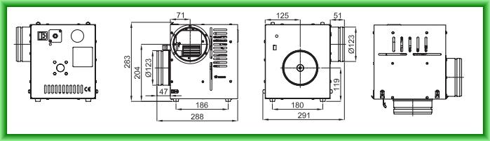 Ventilator de aer cald cu termostat pentru seminee AN1 400 mc/h - desen tehnic