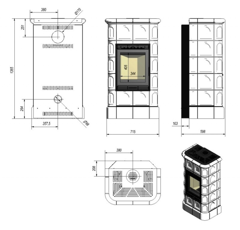 Soba de teracota prefabricata BLANKA - desen tehnic