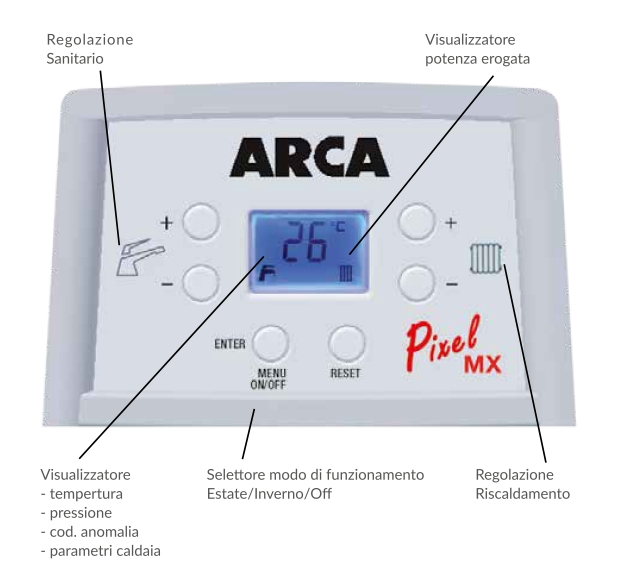 Centrala termica pe gaz in condensatie combi ARCA PIXEL MX PN - panou de comanda