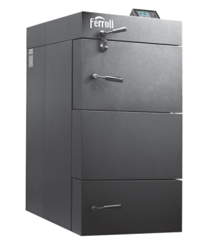 poza 8129 Lei Centrala termica pe lemn cu gazeificare Ferroli CGF 36 kW cu panou de comanda digital