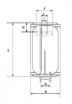 Poza Boiler electric BANDINI BRAUN SMART - schema (pentru dimensiuni vezi pliantul)