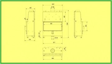Poza Termosemineu tip insert LUCY PW 20 kW - desen tehnic