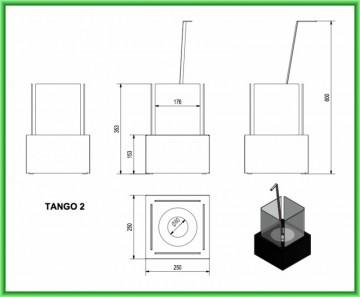 Poza Semineu cu bioetanol portabil TANGO 2 TUV - desen tehnic