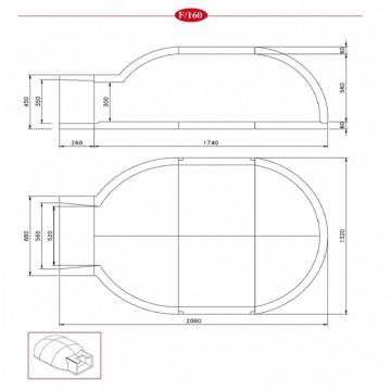 Poza Cuptor pe lemne pentru paine prefabricat CLAM F160 - desen tehnic
