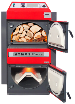 Poza Centrala termica pe lemn cu gazeificare ATMOS - cu usile deschise, incarcata cu lemne de foc