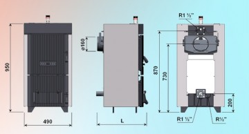Poza Centrala termica pe lemn din fonta DUNATECH - desen tehnic