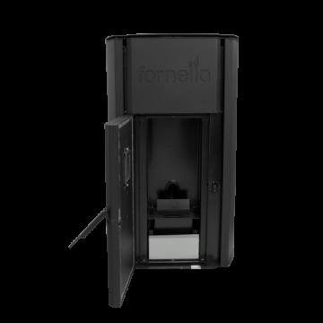 Poza Centrala termica pe peleti FORNELLO ROYAL 30 kW - cu usa deschisa