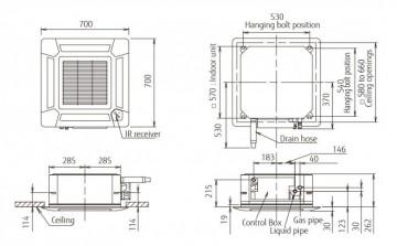 Poza Echipament de climatizare tip caseta FUJITSU AUYG18LVLB/AOYG18LALL 18000 BTU - desen tehnic