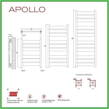 Poza Radiator port-prosop decorativ RADOX APOLLO - desen tehnic